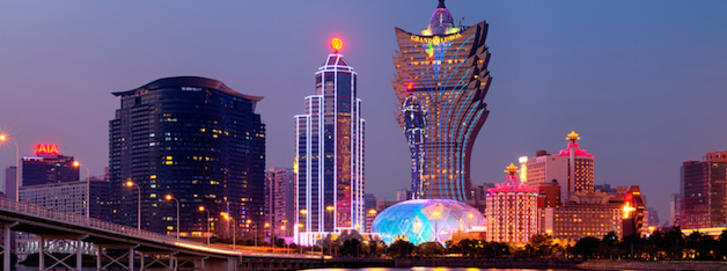Night Macao Skyline, including Casinos such as, The Grand Lisboa and Wynn