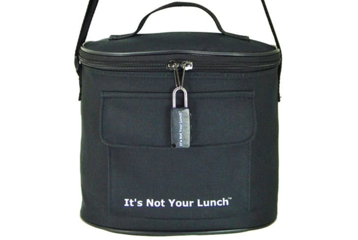 A locked lunch bag says 'It's Not Your Lunch.'