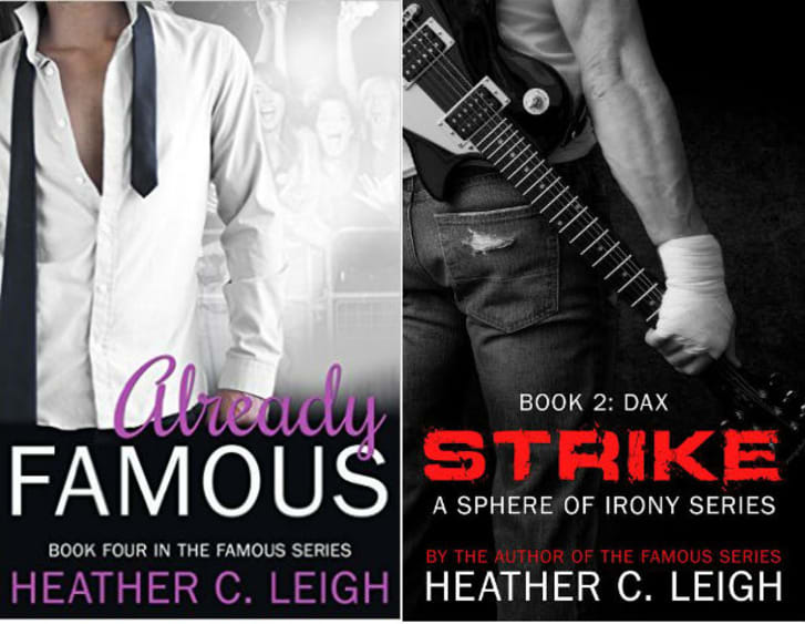 The covers of two romance novels by Heather C. Leigh