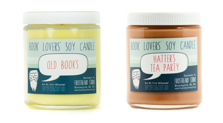 Two candles in 'Hatter's Tea Party' and 'Old Books' scents