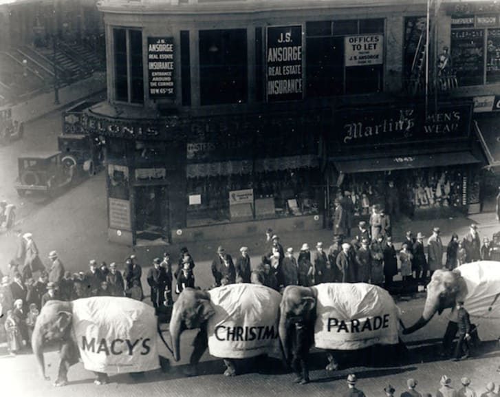 A black-and-white photo from an early Macy's Thanksgiving parade