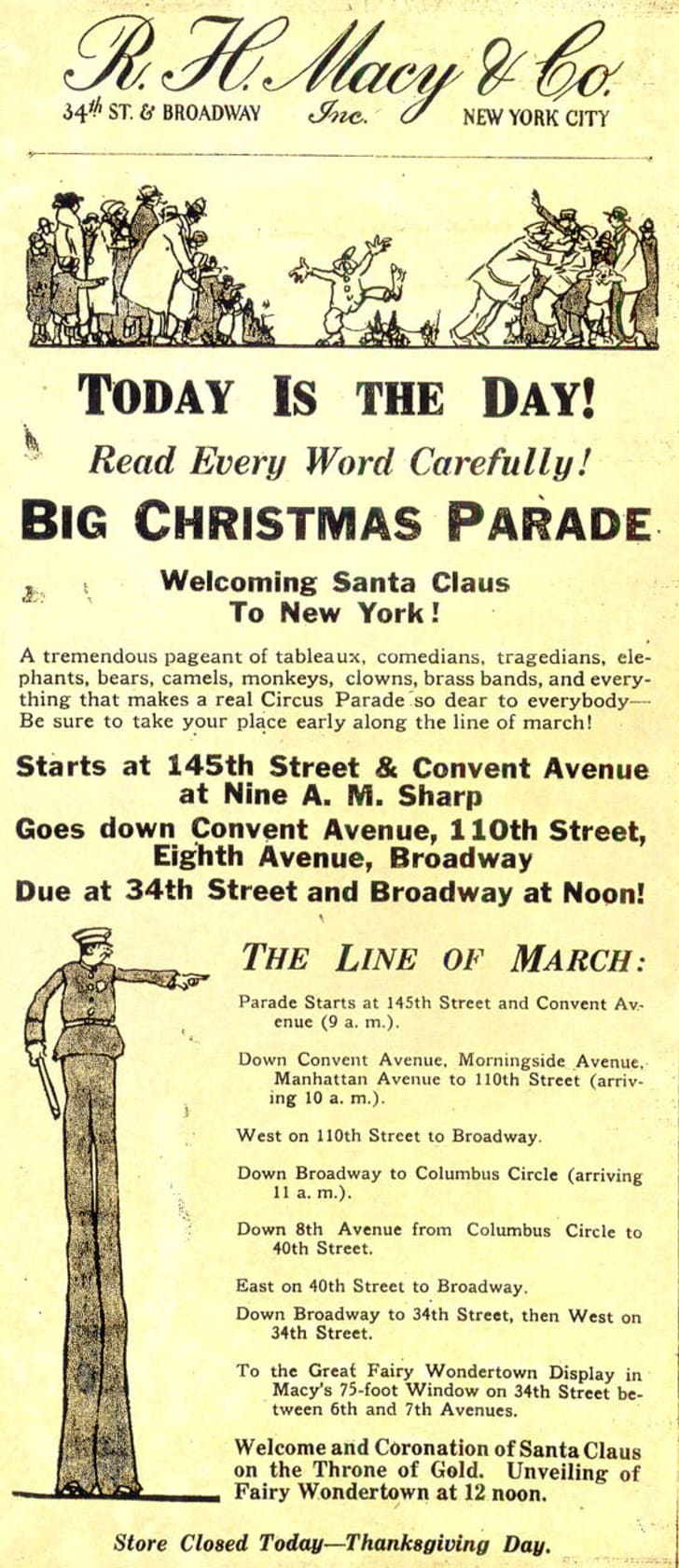 Advertising from an early Macy's parade