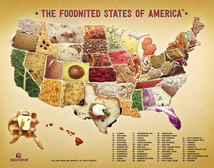 Map: All 50 States Reimagined as Food Puns | Mental Floss Map Of All States on map of states that are bankrupt, map of pennsylvania, map of guam, map of africa, labeled map of 50 states, map of california, map of us with states, map of southern states, map of south dakota, printable map of 50 states, map of new york state, map of indiana, map games pibmug 50 states, map of texas, alphabetical list 50 states, of the 50 states, blank map of states, map of all countries, map of the states, map of eastern states,