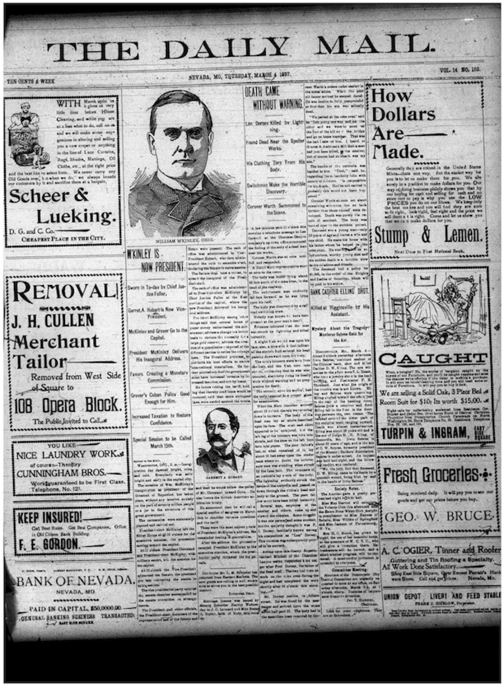 Scan of the Nevada Daily Mail from March 4, 1897.
