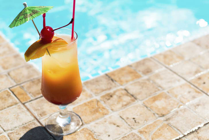 A Mai Tai cocktail by the pool