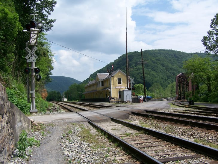 The old depot in Thurmond, West Virginia