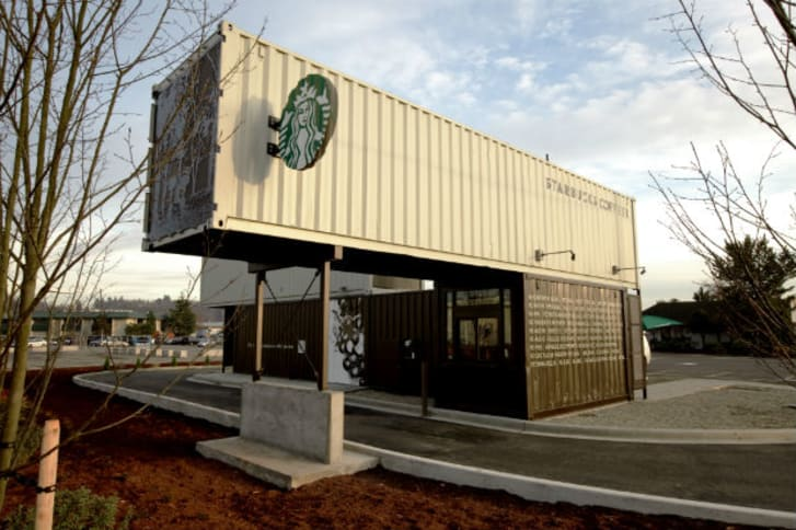 A Starbucks store made out of a shipping container