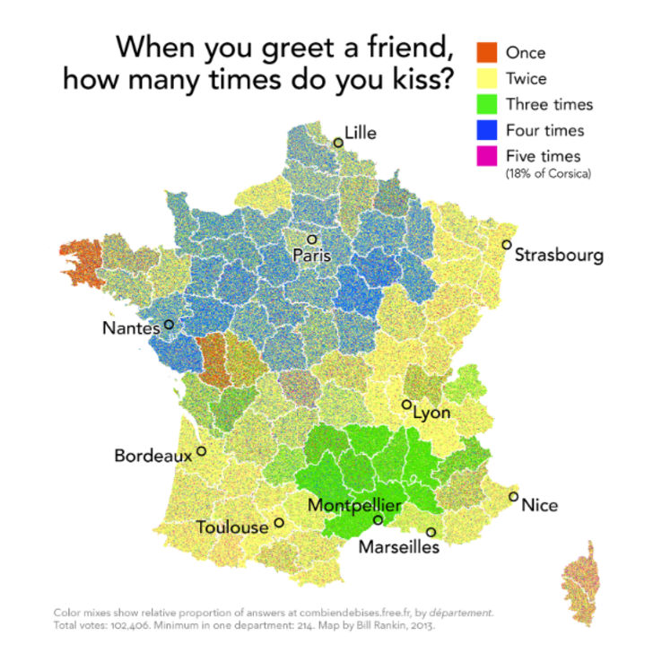 Map Of France Nantes.How Many Kisses Make A Proper Greeting In France Mapped Mental Floss