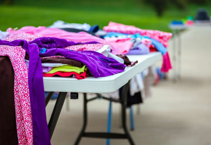Clothing at a garage sale