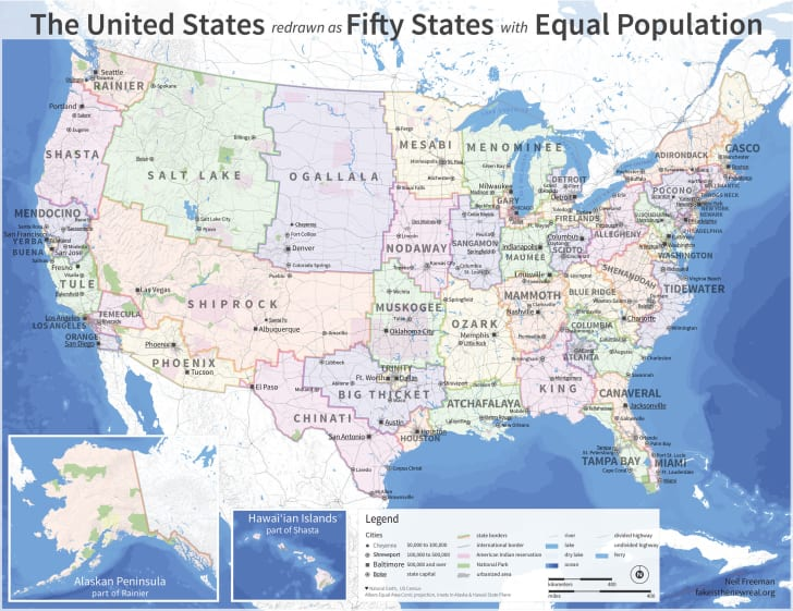 The Us Map Redrawn As 50 States With Equal Population Mental Floss - Us-map-of-the-50-states