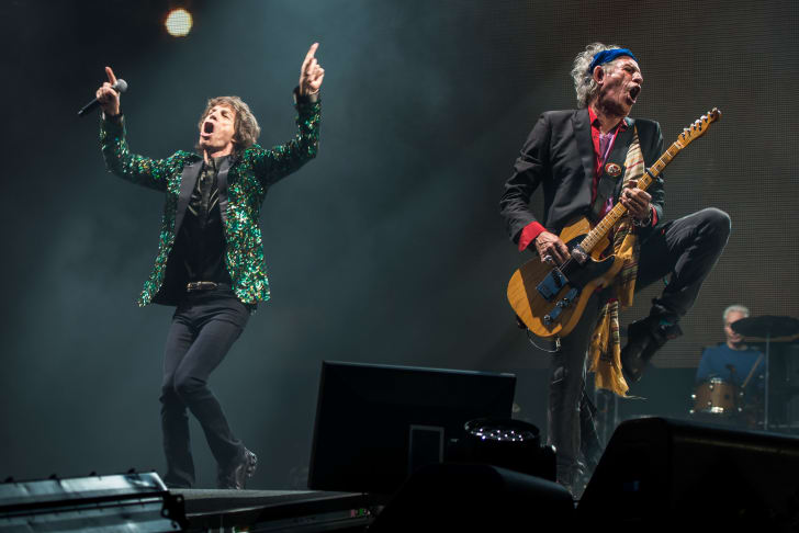 Mick Jagger and Keith Richards of The Rolling Stones in concert