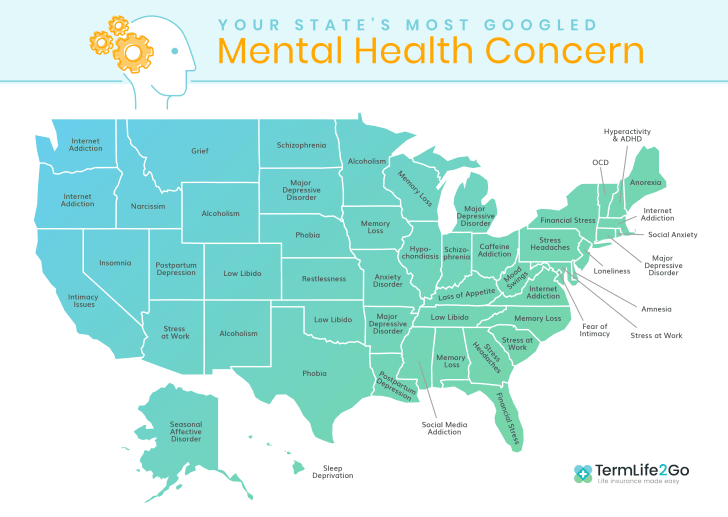 Map of most Googled mental health symptoms in the U.S.