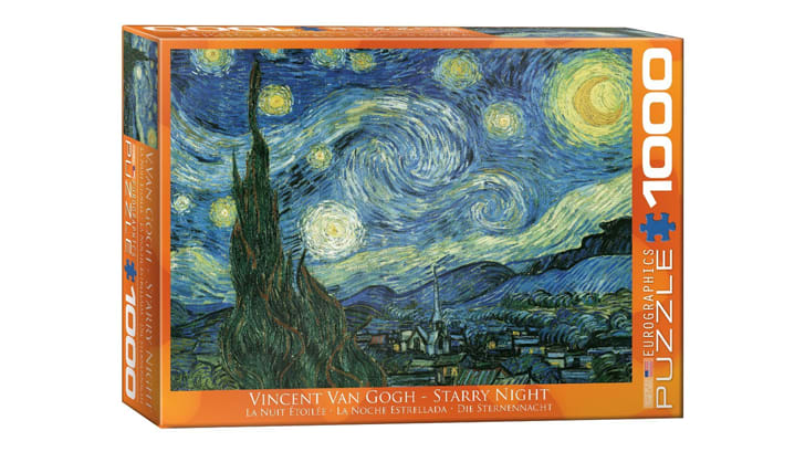 A puzzle box with a reproduction of 'Starry Night' on the cover