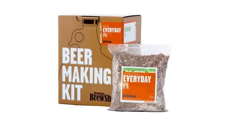 A beer making kit in a box next to a grain mixture that says 'Everyday IPA'