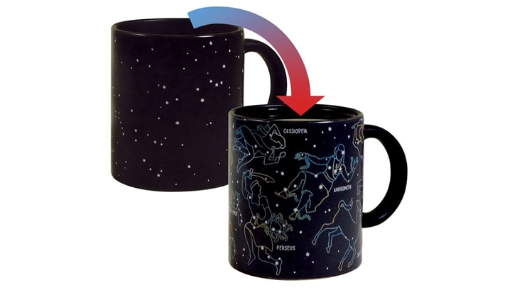 Two mugs showing the before and after look of the heat-changing mug with constellations on it
