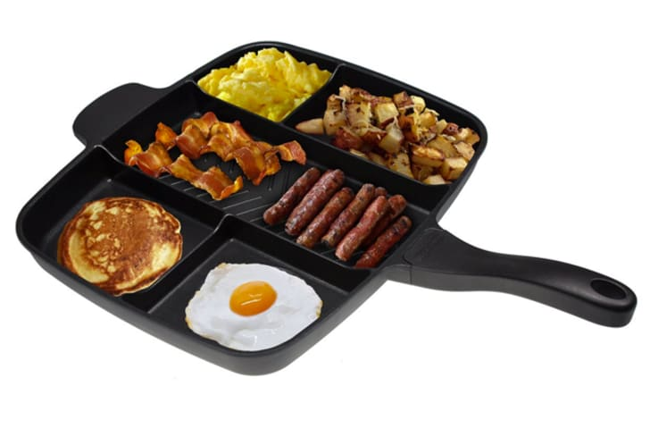 A pan with separate sections for sausage, bacon, eggs, and more