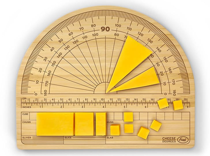 A cutting board with a protractor design