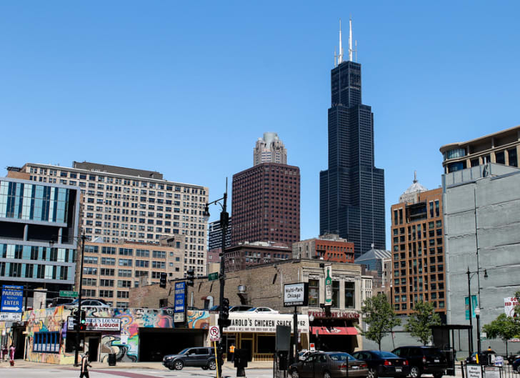 A picture the Willis Tower in Chicago from the view of a local neighborhood.