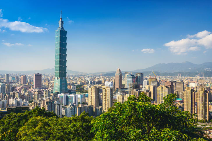 Taipei, Taiwan downtown skyline at the Xinyi Financial District