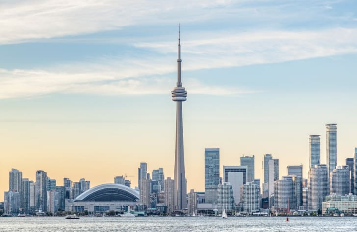 Toronto Skyline with the CN Tower apex at sunset
