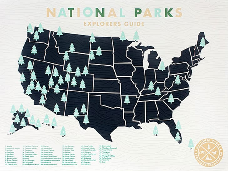 A map of the U.S. with trees marking the location of every national park