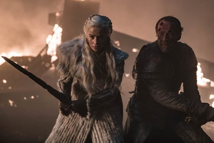 "Emilia Clarke and Iain Glen in 'Game of Thrones' season 8's ""The Long Night"""