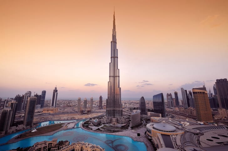 An aerial view of Dubai's Burj Khalifa