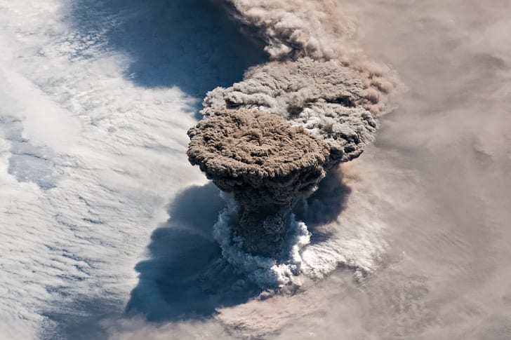 Photo from space of Raikoke volcano erupting