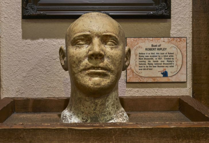 A bust of Robert Ripley sits on display at the Ripley's Believe It or Not! Odditorium in Grand Prairie, Texas