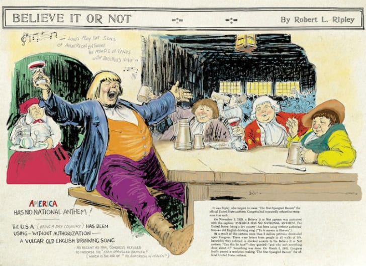 Robert Ripley's art for a November 3, 1929  'Ripley's Believe It or Not!' cartoon depicting the origin of the 'Star-Spangled Banner' is pictured