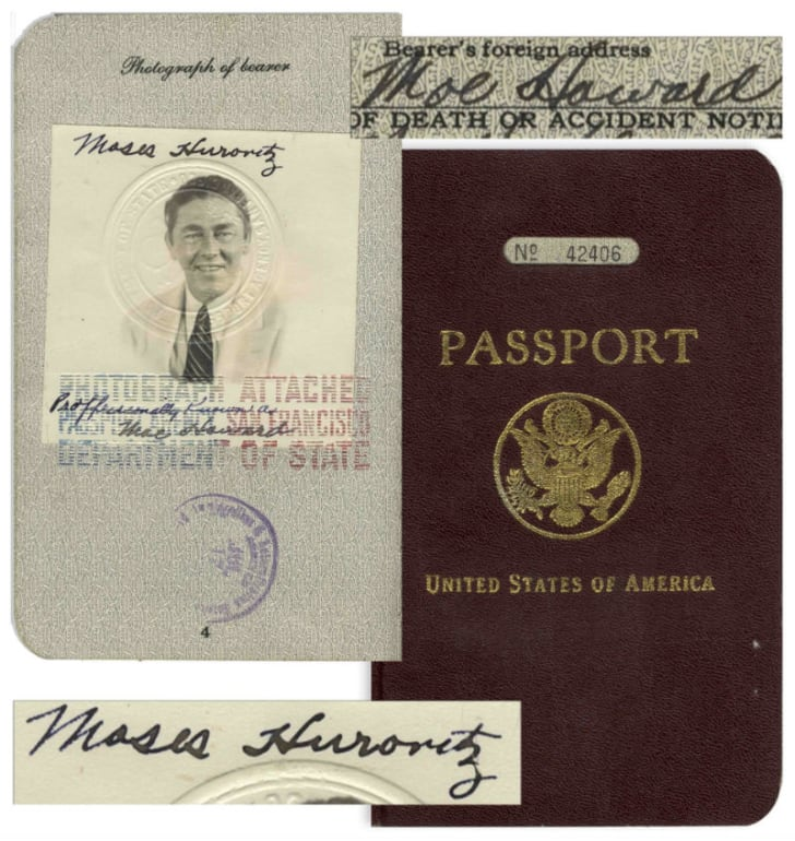 The 1939 passport of Three Stooges star Moe Howard is pictured