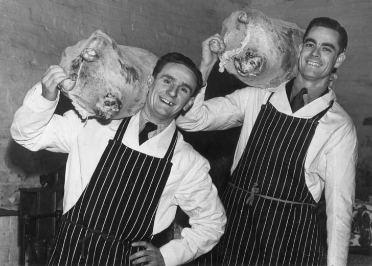 Two butchers, circa 1965.