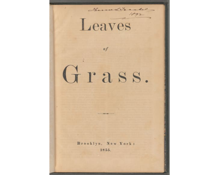 The title page of a 19th-century copy of 'Leaves of Grass'