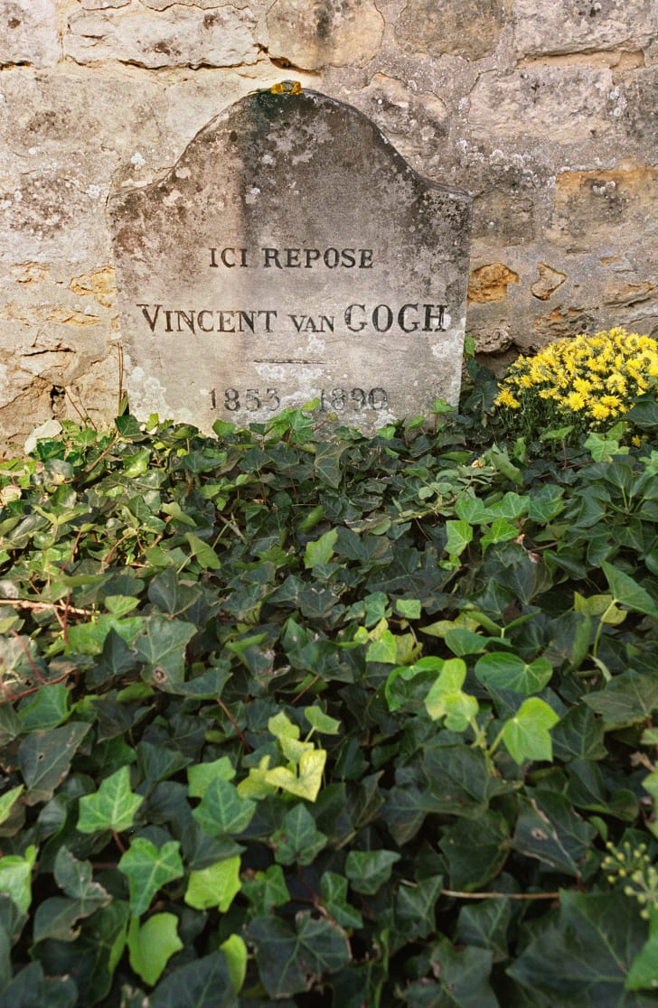 Vincent Van Gogh's gravestone in Auvers-sur-Oise, a small village north of Paris