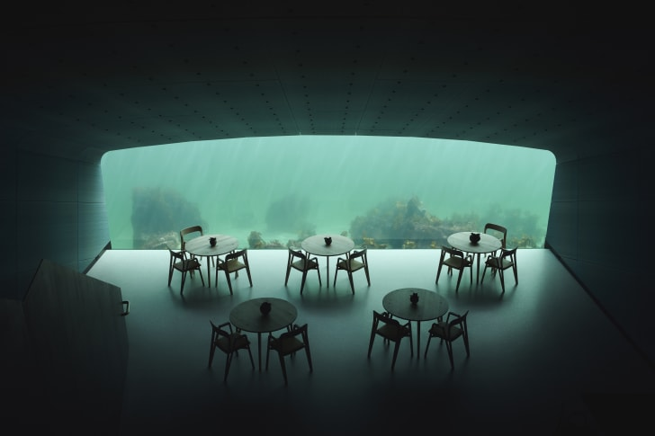 Dining room of underwater restaurant.