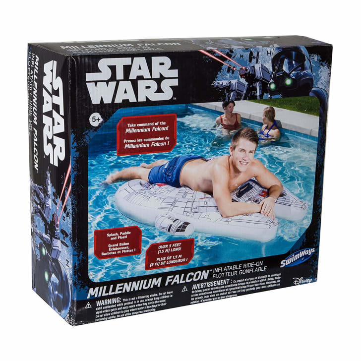 Star Wars-themed pool float in box.