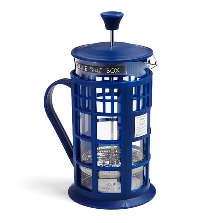 A TARDIS-themed French press