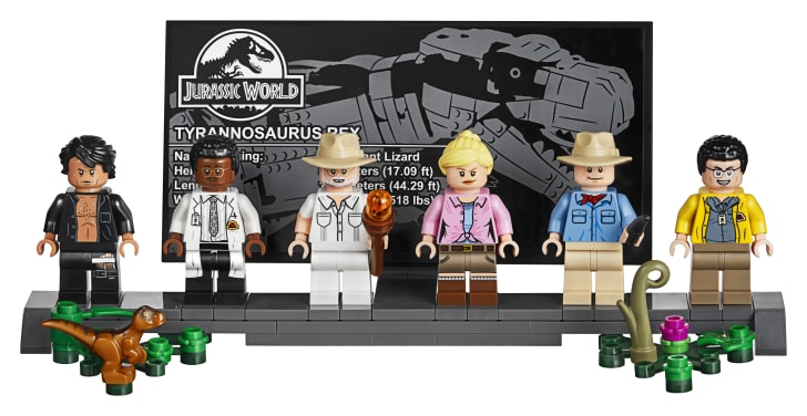 Minifigures from the Jurassic Park LEGO set