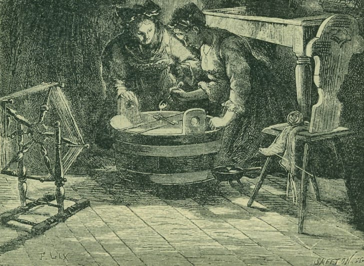 A drawing of women practicing divination with lead or wax