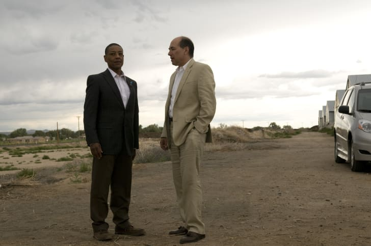 Gus Fring (Giancarlo Esposito) and Juan Bolsa (Javier Grajeda) in Breaking Bad