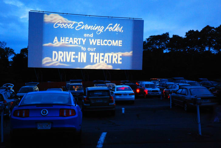 The Wellfleet Drive In welcomes its guests to their outdoor theater before the start of their feature movie