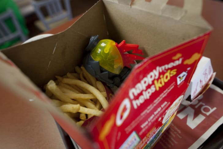 A McDonald's Happy Meal is pictured