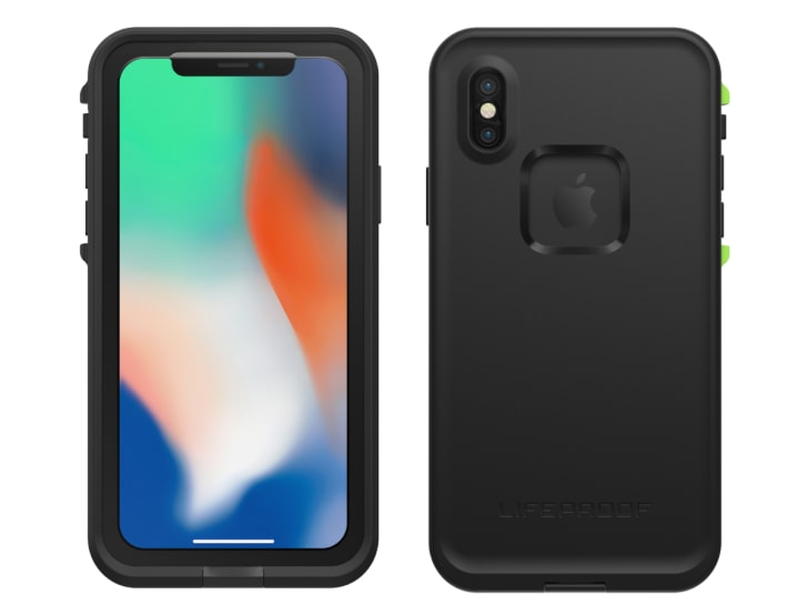The front and back of a black LifeProof FRE smartphone case