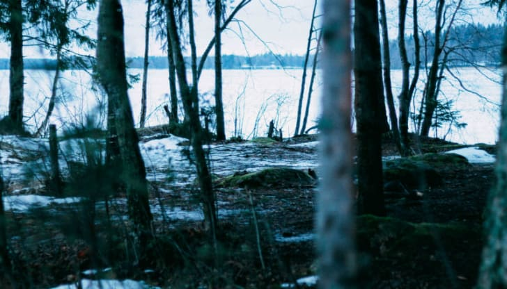 Lake Bodom in the winter is pictured