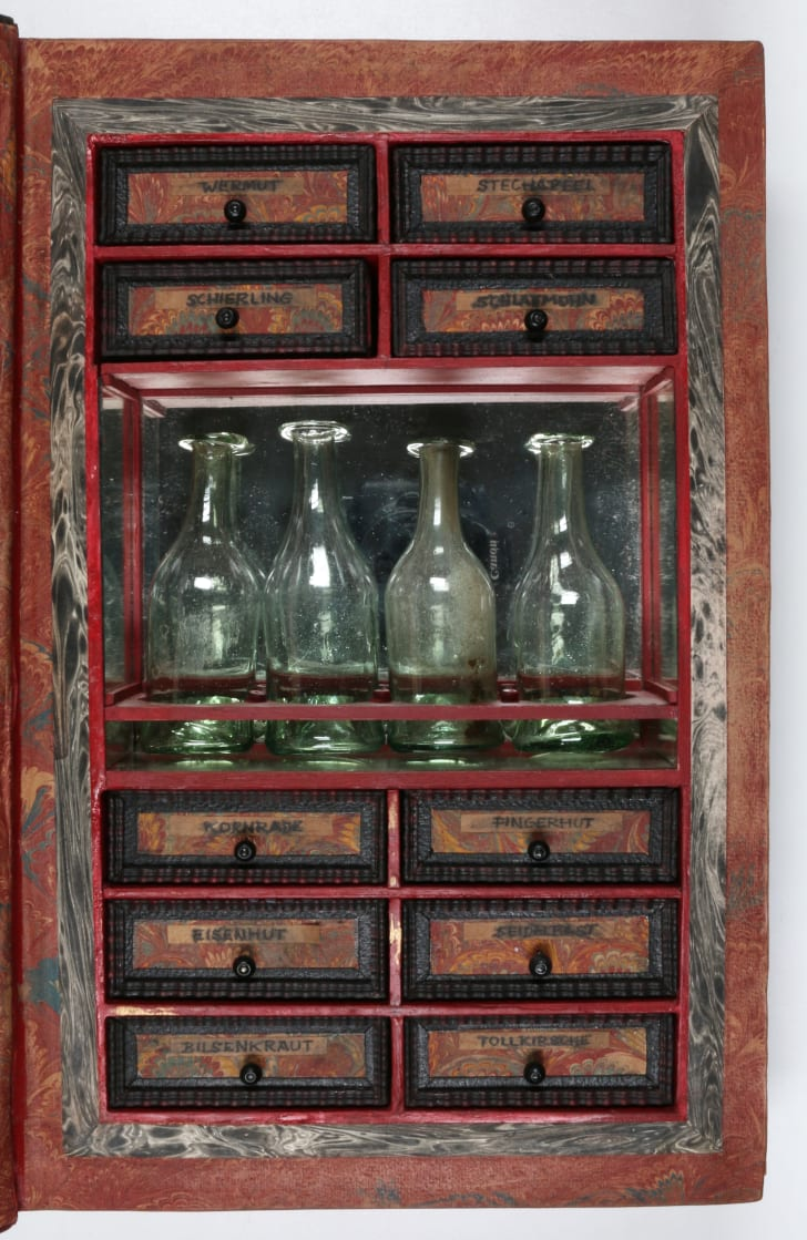 Secret compartment with bottles in book.