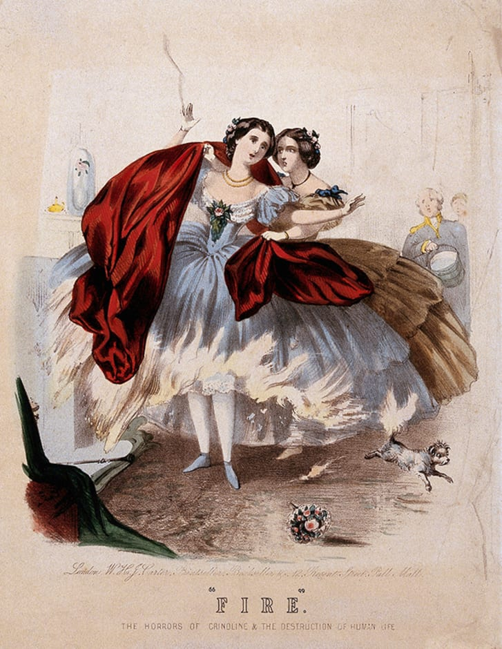 A woman with her crinoline on fire