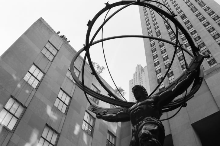 The Atlas statue in New York City seen from below