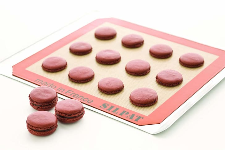 Silpat with macarons.