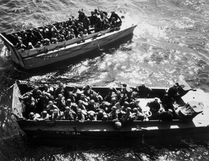 U.S. troops in landing craft, during the D-Day landings.