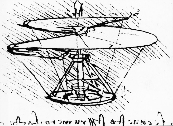 Sketch of an early helicopter prototype drawn by Leonardo da Vinci in 1483.